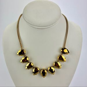 J CREW Gold Rhinestone Statement Necklace